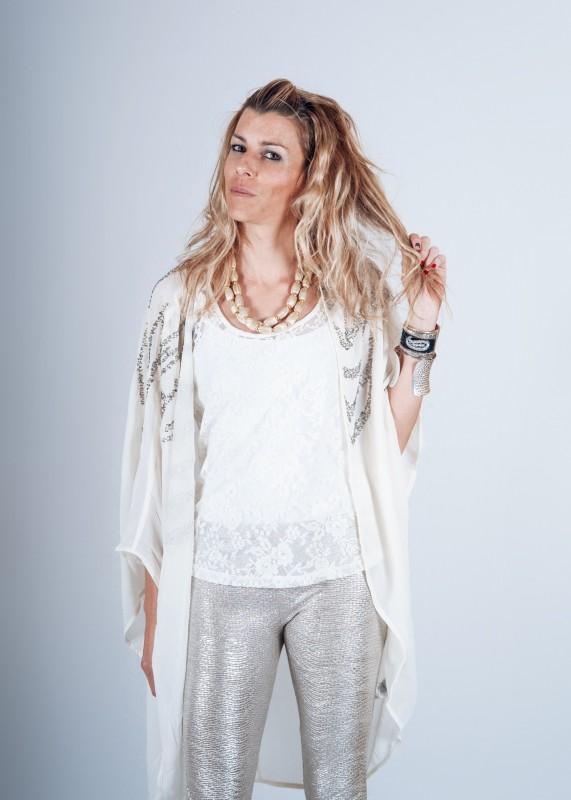 Kimono de seda blanco